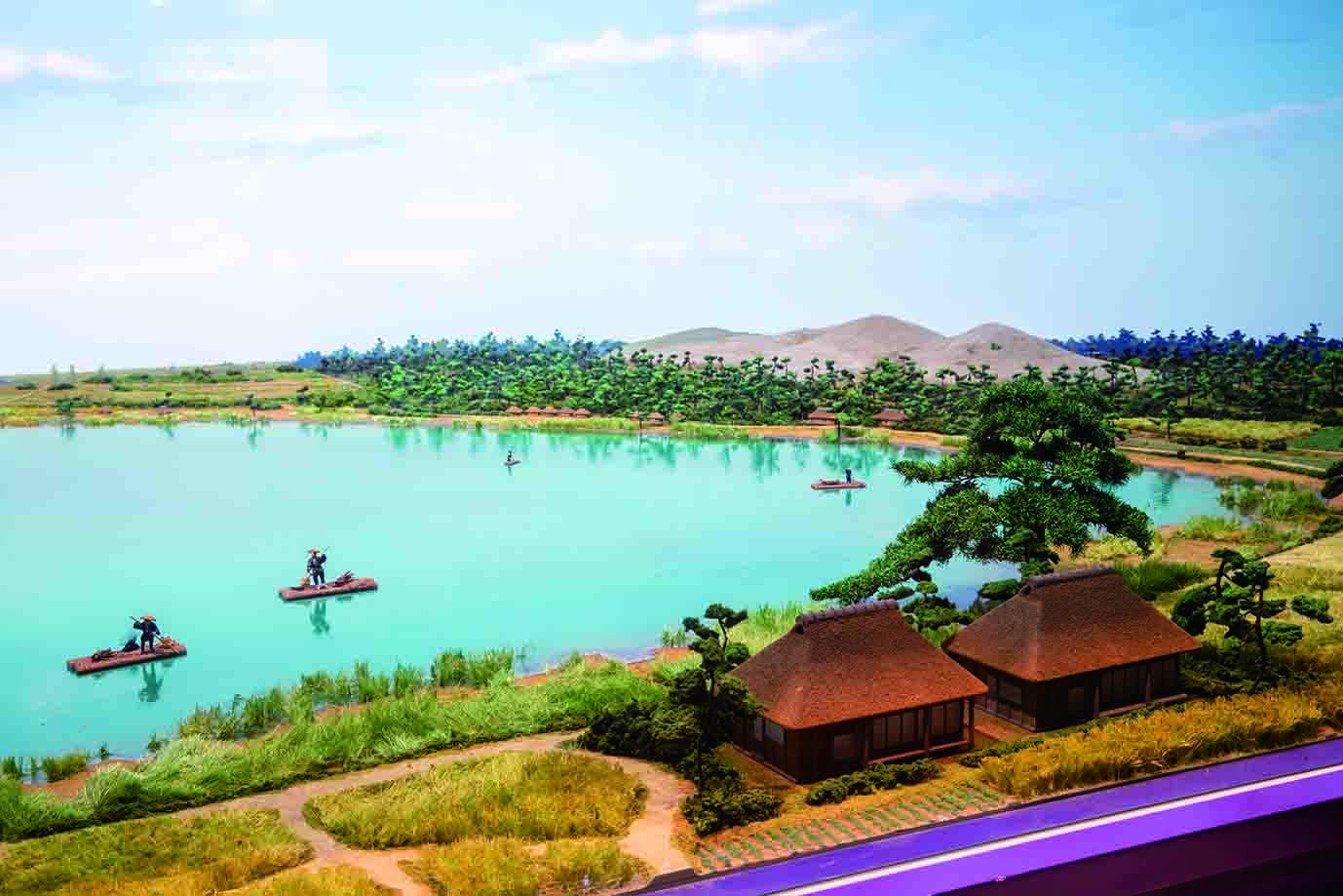 当時の神之池と砂丘を再現したジオラマ