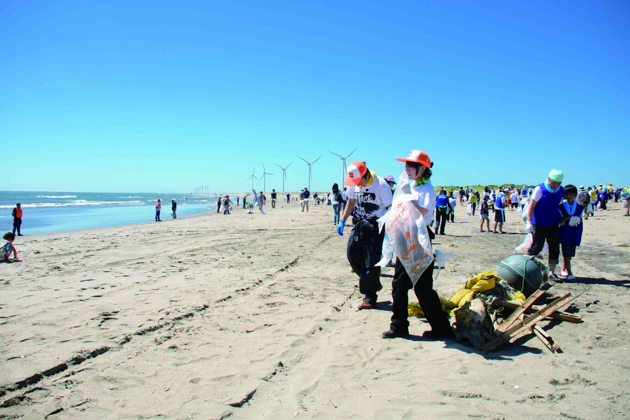 海岸清掃をしている様子